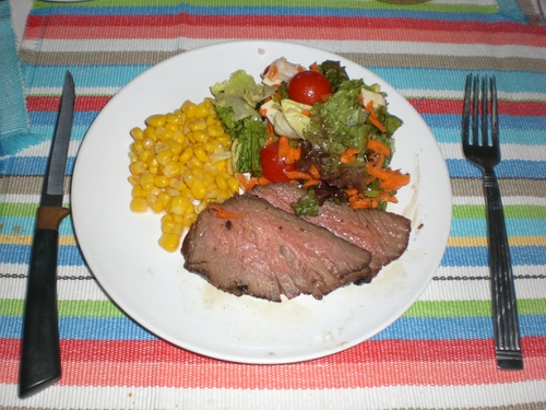BBQ Beef with corn and salad